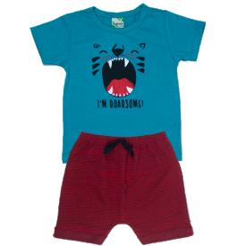 conjunto infantil menino camiseta azul roarsome e bermuda vermelha 1805 10170