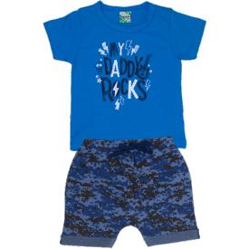 conjunto infantil menino royal rock saruel camuflada azul 1810 10169