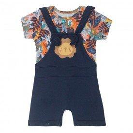 conjunto bebe menino jardineira leao e camiseta floresta marinho 8337 10324