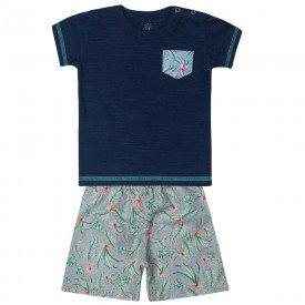 conjunto bebe menino camiseta e bermuda tactel floral marinho 80106 10317