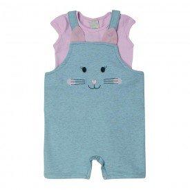 conjunto bebe menina macaquinho orelhinhas e blusa azulrosa 7342 10303
