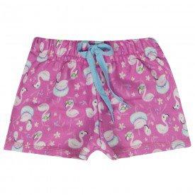 short infantil feminino moletinho flamingos pink 1174 10310