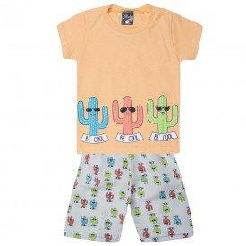conjunto infantil menino camiseta e bermuda tactel cactus laranja 1429 10501