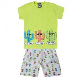 conjunto infantil menino camiseta e bermuda tactel cactus verde limao 1429 10500