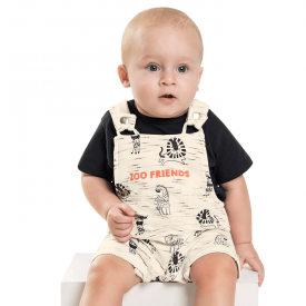 conjunto bebe menino jardineira zoo off e preto 7213 10263