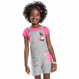 conjunto jardineira infantil mescla e blusa pink 7176 10258