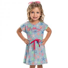 vestido infantil estrela do mar azul 7159 10256