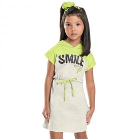 vestido infantil mescla cream e verde neon com capuz 7180 10261