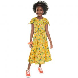 vestido infantil midi floral amarelo 7179 10260