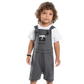 conjunto infantil menino jardineira dino ray x chumbo e branco 7227 10271