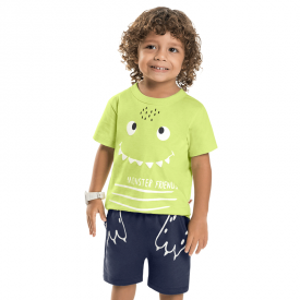 conjunto infantil menino verde neon e saruel navy 7218 10269