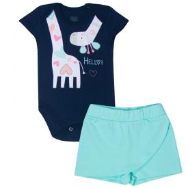 conjunto bebe menina body e shorts saia girafa marinho verde menta kw017 10353
