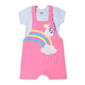conjunto bebe menina jardineira unicornio e body melancia branco kw019