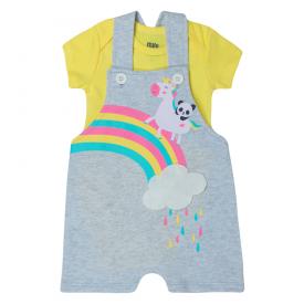 conjunto bebe menina jardineira unicornio e body mescla amarelo kw019 10255