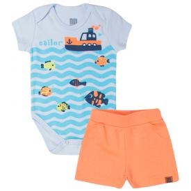 conjunto bebe menino mar body e bermuda branco laranja kw412 10356