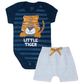 conjunto bebe menino little tiger body e bermuda saruel marinho mescla kw413 10357