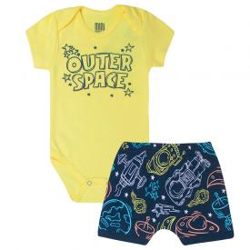 conjunto bebe menino space body e bermuda saruel amarelo marinho kw414 10359