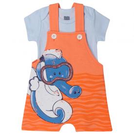 conjunto bebe menino jardineira cavalo marinho e body laranja branco kw417 10362