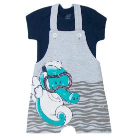 conjunto bebe menino jardineira cavalo marinho e body mescla marinho kw417 10363