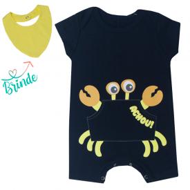 macacao bebe menino caranguejo babador de brinde marinho amarelo kw418 10364