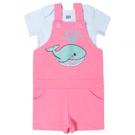 conjunto infantil menina jardineira baleia e body melancia branco kw113 10367