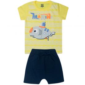 conjunto infantil menino submarine camiseta e saruel amarelo marinho kw512 10368