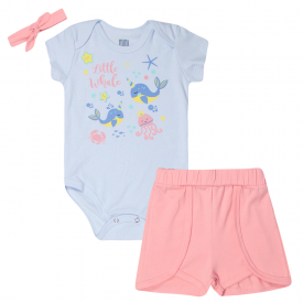 conjunto bebe menina body e shorts oceano brinde faixa de cabelo brancorosa kw015 103502