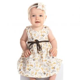 vestido bebe menina marfim e preto 12077 10380