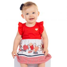 vestido bebe vermelho e branco 12084 10381