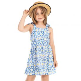vestido infantil margaridas azul e amarelo 12125 10386