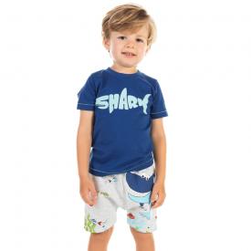 conjunto infantil menino shark azul e mescla 12186 10405