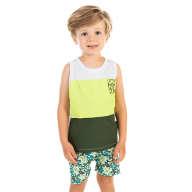 conjunto infantil menino branco e verde militar 12190 10407