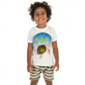 conjunto infantil camiseta nature marfim e saruel listrada verde 12202 10418