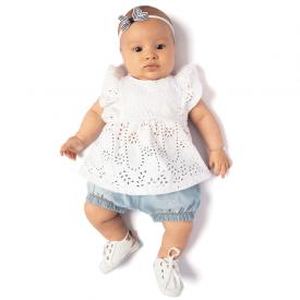 conjunto bata bordado ingles branca e shorts chambray claro 0112 10707
