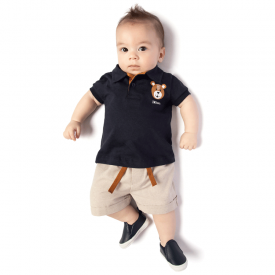 conjunto bebe masculino polo marinho e bermuda chambray ecologico 4116 10680