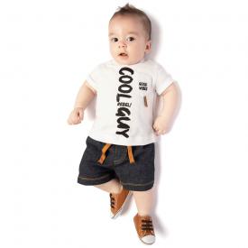 conjunto camiseta branca e bermuda sarja escura 4117 10681