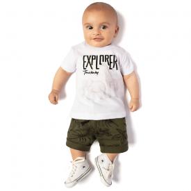 conjunto camiseta explorer branca e bermuda verde oliva 4119 10683