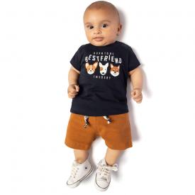 conjunto camiseta best friend marinho e bermuda caramelo 4120 10684