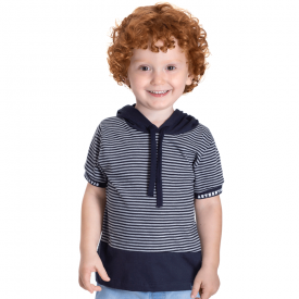 camiseta infantil masculina marinho com gola 5383 10706