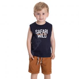 conjunto infantil safari camiseta marinho e bermuda caramelo 5381 10705
