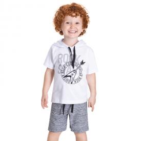 conjunto infantil rock camiseta branca e bermuda preta 5379 10703