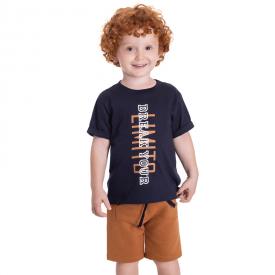 conjunto infantil camiseta marinho e bermuda caramelo 5378 10702