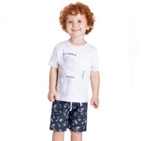 conjunto infantil california camiseta branca e bermuda marinho 5377 10701