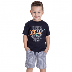 conjunto infantil masculino deep ocean camiseta marinho e bermuda listrada 5374 10697