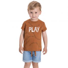conjunto infantil masculino play camiseta caramelo e bermuda jeans confort 5372 10694