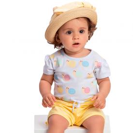 conjunto bebe menina caracol branco amarelo 1376 10435