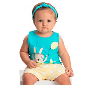 conjunto bebe menina regata sereia verde agua amarelo 1377 10438