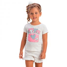 pijama infantil menina amigos off white 1383 10445