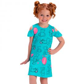 vestido infantil menina ursinhos verde agua 1386 10450