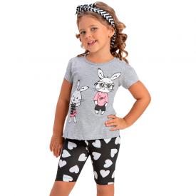 conjunto infantil menina coelhos mescla preto 1391 10459